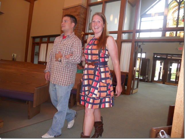 liz and nick entering at rehearsal
