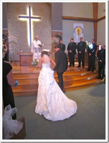 walking up the altar